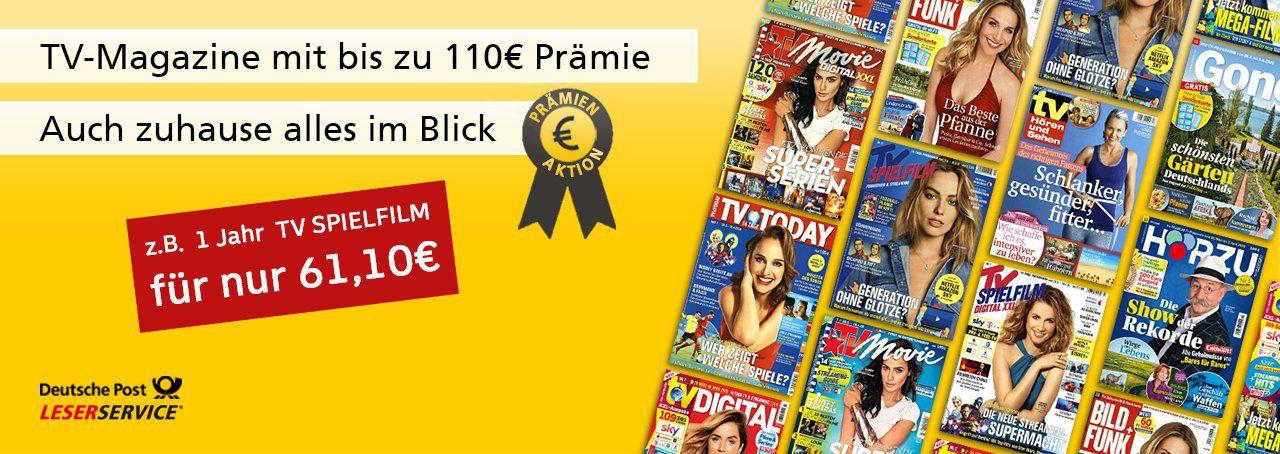 TV Zeitschriften im Jahresabo mit fetten Prämien   z.B. 1 Jahr tv DIGITAL XXL für 60€ + 60€ Gutschein