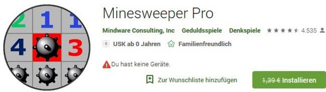 Minesweeper Pro gratis statt 1,39€   für Android