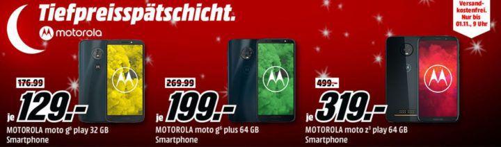 Media Markt Motorola Tiefpreisspätschicht: z.B. MOTOROLA Moto g6 plus 64 GB  für 199€ (statt 242€)