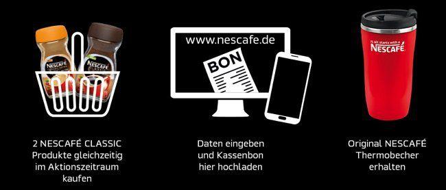 Gratis Thermobecher beim Kauf von 2 Nescafé Classic Produkten