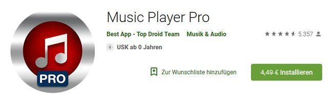 Music Player Pro (Android) gratis (statt 4,49€)