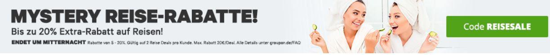 Groupon mit bis 15% Rabatt auf Reiseangebote bis Mitternacht!