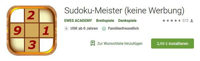 Android: Sudoku Meister gratis statt für 2,99€