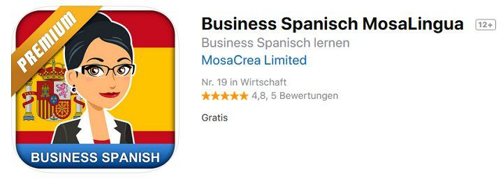 MosaLingua Premium – Business Spanisch lernen (Android/iOS) kostenlos statt 5,49€