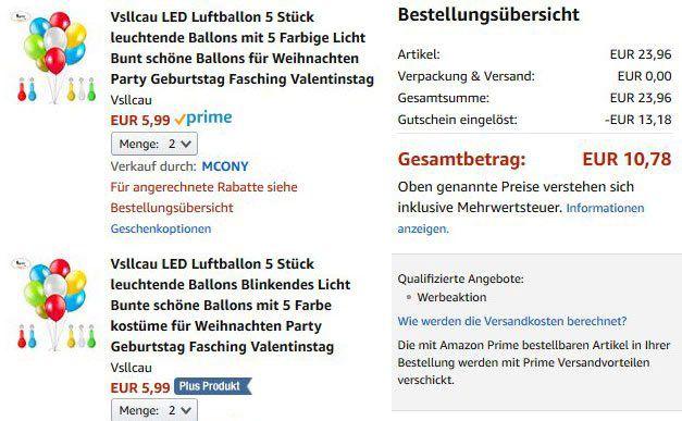 5 LED Luftballons für 2,70€   Prime