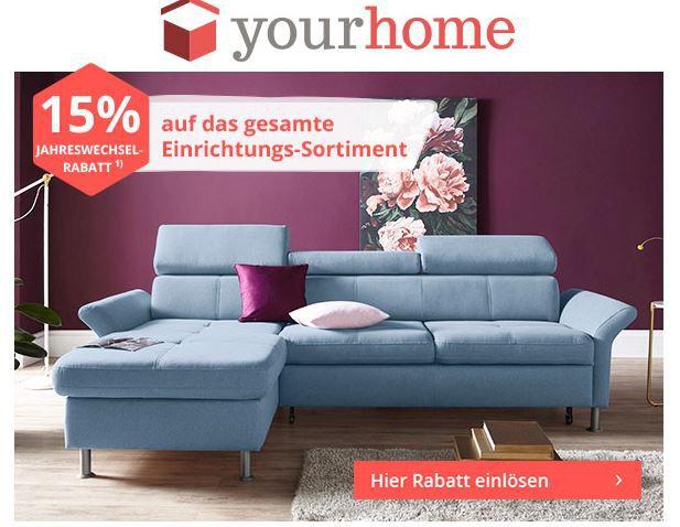 yourhome mit 15% Gutschein auf Einrichten + gratis Lieferung ab 50€   günstige Möbel