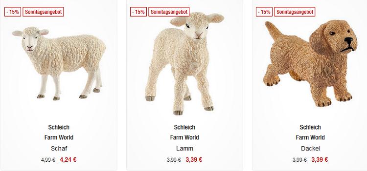 Schleich Spielzeug Figuren mit 15% Rabatt   z.B. Tierarzteinsatz in der Reitschule für 59,49€ (statt 103€)
