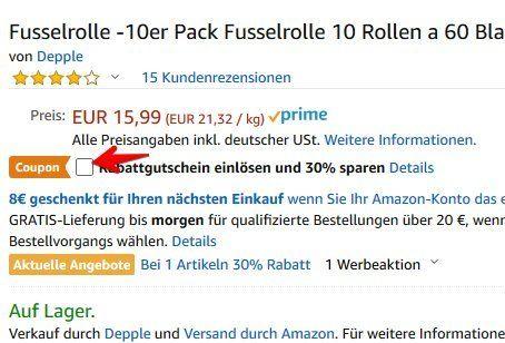 Fusselrolle inkl. 10 Rollen für 6,39€   Prime