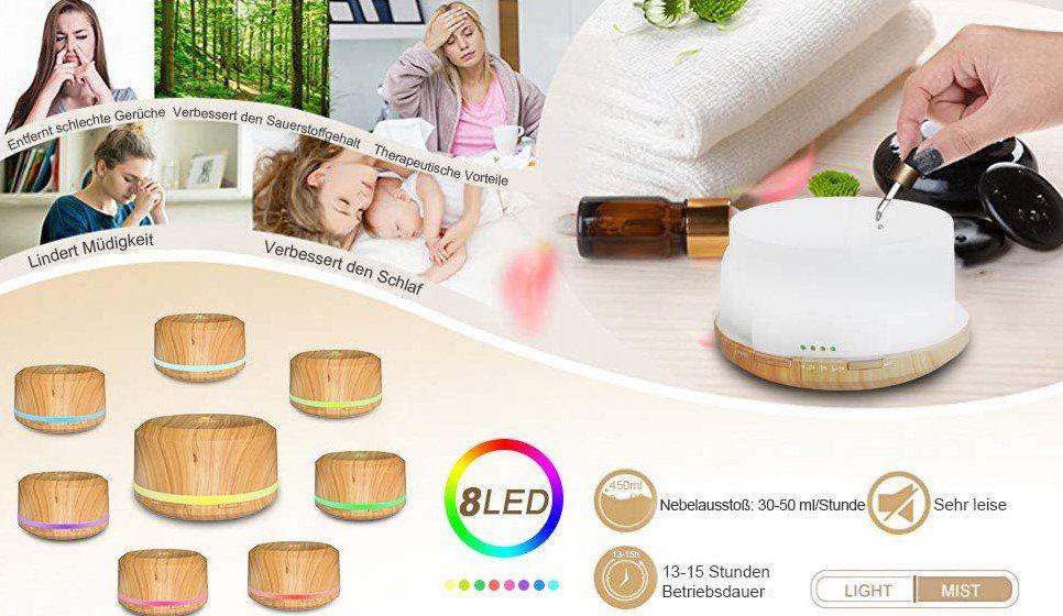 Neloodony Diffusor mit 450ml & 8 LED Farben für 10,99€ (statt 22€)