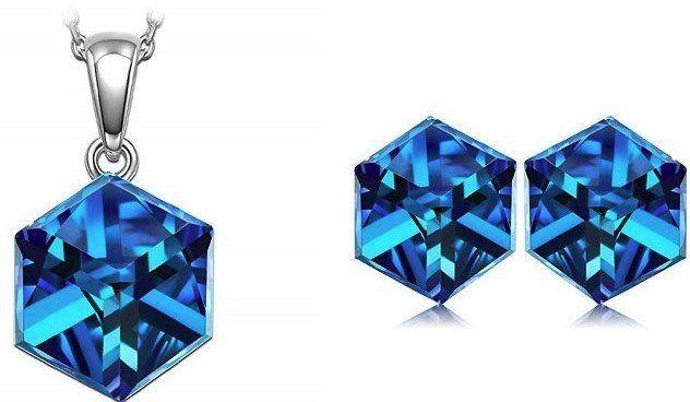 Alex Perry Blaue Ohrringe oder Halskette inkl. Schmuckkästchen für je 9,99€ (statt 22€)   Prime