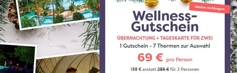 Geschenkidee: Thermenbesuch + ÜN inkl. Frühstück für 69€ p.P.