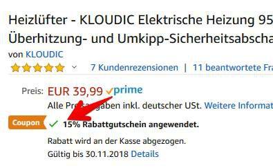 KLOUDIC KD QN05DE   Heizlüfter (950 W) für 16,49€ (statt 30€)