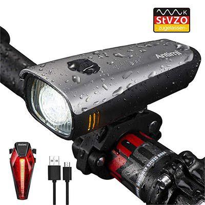 Antimi LED Fahrradlicht Set mit Rücklicht & Akku für 13,76€ (statt 36€)