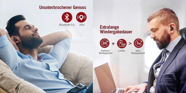 TaoTronics kabellose In Ear Kopfhörer (TT BH052) mit Ladebox für 33,49€ (statt 42€)