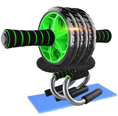 Bauchtrainer Abroller mit 3 Rädern inkl. Liegestützgriffe & Fitnessbänder für 18,23€ (statt 33€)