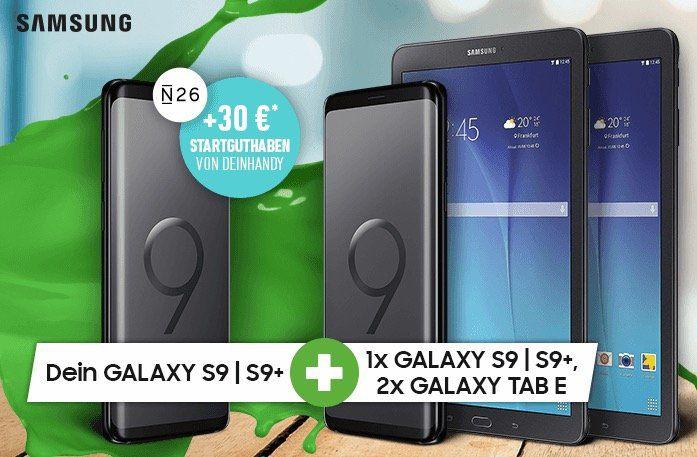 Vorbei! Samsung Galaxy S9 für 79€ oder S9+ für 249€ + 2. S9/S9+ gratis + 2x Galaxy Tab E 9.6 gratis + Vodafone Allnet Flat mit 11GB LTE für 51,99€ mtl.