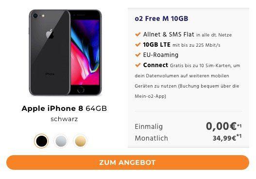 iPhone X für 0€ + o2 Free M 10GB LTE für 49,99€ mtl.