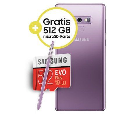 GigaKombi Vorteil: Samsung Galaxy Note 9 für 69,95€ + gratis 512GB Speicherkarte + Vodafone Red M mit 21GB LTE + 1 Vodafone Pass + GigaDepot für 34,99€ mtl.