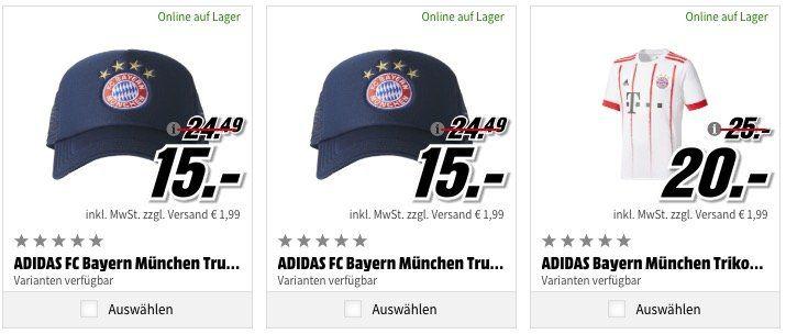 adidas Fußball Bundesliga Trikots, Kappen etc. beim Media Markt ab 10€ + 1,99€ VSK