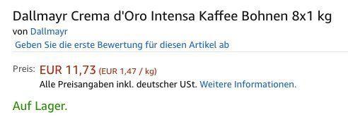 Vorbei! 8kg Dallmayr Crema dOro Intensa Kaffeebohnen für 16,68€ (statt 91€)