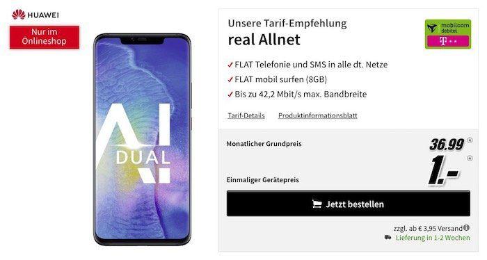 Knaller! Huawei Mate 20 Pro für 1€ + Telekom Allnet Flat mit 8GB für 36,99€ mtl.