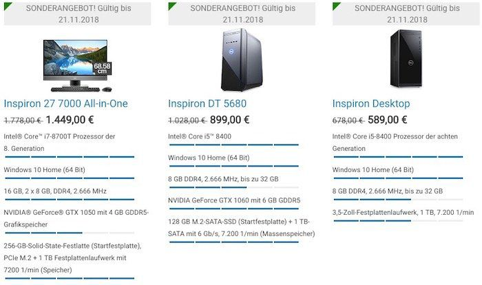 Dell mit Black Freitag Angeboten   z.B. Dell Inspiron 13 Notebook i7 8550U und 256GB SSD für 749€ (statt 804€)