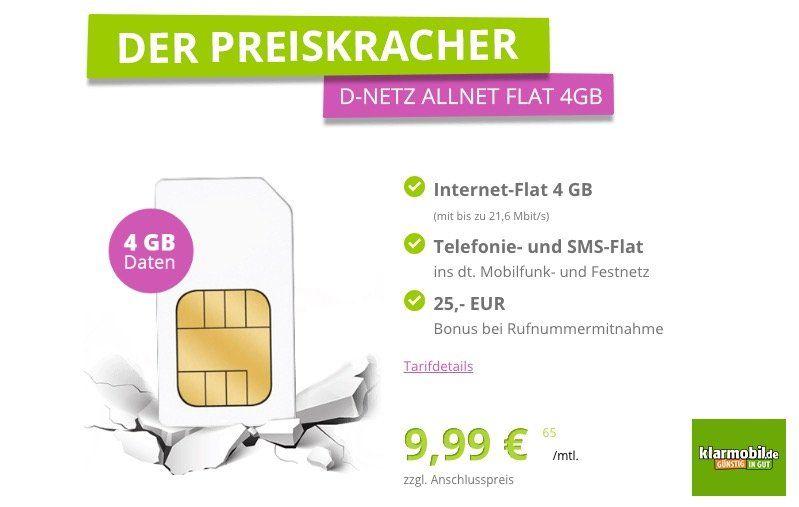Preiskracher: Vodafone Allnet Flat mit 4GB für 9,99€ mtl.