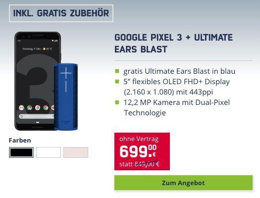 Google Pixel 3 64GB für 699€ (statt 775€) + gratis UE Blast Lautsprecher (Wert 88€)