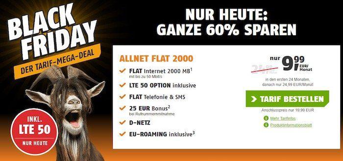 Zum Black Freitag! Telekom Allnet Flat mit 2GB LTE für nur 9,99€ mtl.🔥