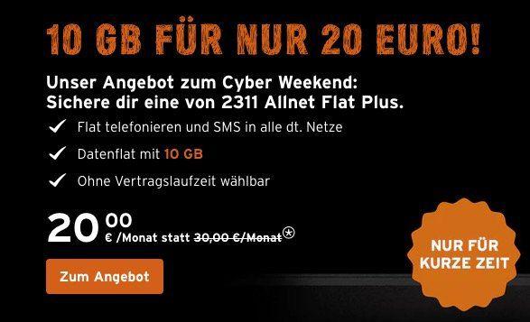 Nur noch heute! Ohne Laufzeit ? Telekom Congstar Allnet Flat 10GB für 20€ mtl.   mit LTE 25€ mtl.