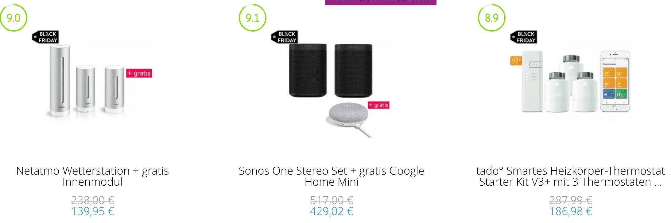 🔥 Tink Smart Home heftige Preise dank Black Freitag   z.B. tado Starter Kit V3+ mit 5 Thermostaten inkl. Google Home Mini für 299,94€ (statt 423€)