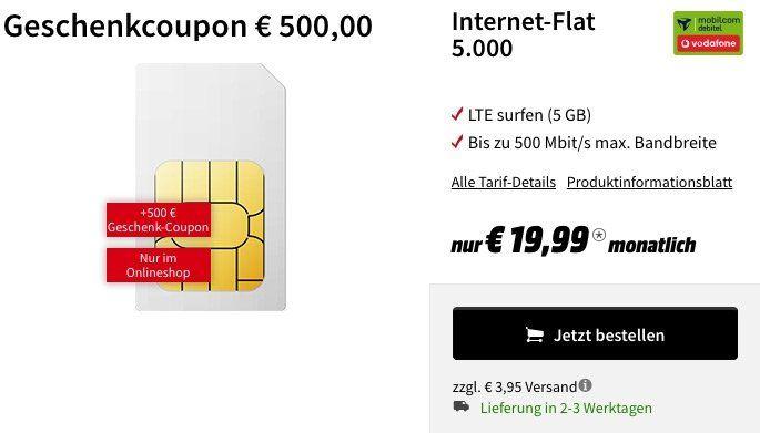 Absoluter Knaller! ? Telekom 4GB LTE oder Vodafone 5GB LTE Datentarife für je 19,99€ mtl. + 500€ Media Markt Gutschein geschenkt