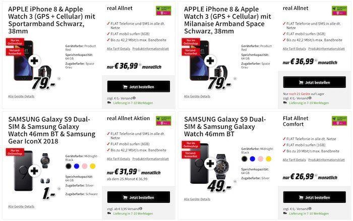 Media Markt Mittagskracher in der Tarifwelt   z.B. iPhone 8 + Apple Watch Series 3 Cellular 38mm für 79€ + Telekom Allnet Flat mit 8GB für 36,99€ mtl.