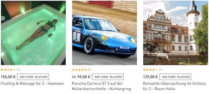 50€ Rabatt auf Erlebnisgeschenke ab 99€   z.B. Übernachtung im Schloss (Raum Halle) inkl. Candle Light Dinner + Frühstück für 2 für 79€ (statt 129€)