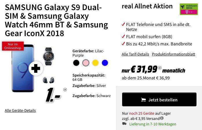 Media Markt Tarif Angebote am Cyber Monday   z.B. Galaxy S9 + Galaxy Watch + Gear IconX für 1€ + Telekom Flat mit 8GB für 31,99€ mtl.