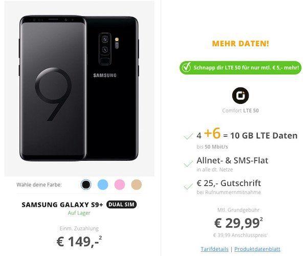 Red Friday Deals bei Sparhandy   z.B. Samsung Galaxy S9+ für 149€ + Vodafone Allnet Flat mit 10GB LTE für 29,99€ mtl.