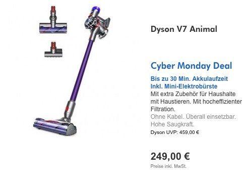Dyson Cyber Monday und Black Week Deals   z.B. Dyson V7 Animal Staubsauger für 249€ (statt 318€)