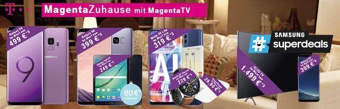 Knaller! Telekom MagentaZuhause M und L mit MagentaTV + Samsung GQ55Q8DN 55 Zoll QLED TV + Samsung Galaxy S8
