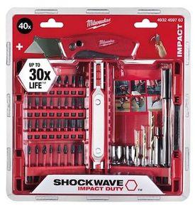 Milwaukee Bitsatz 40 teilig Shockwave + Fastback Klappmesser im Set für 32,73€ (statt 43€)