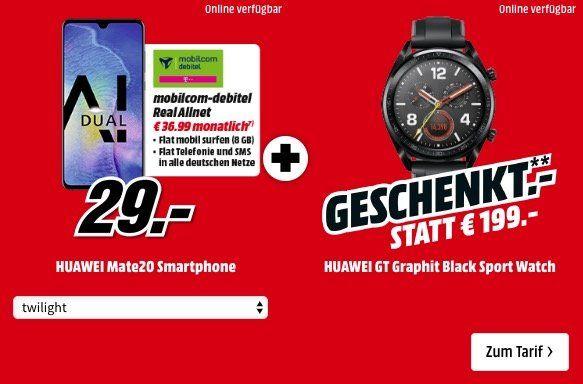 Huawei Mate 20 + Huawei Watch GT für 29€ + Telekom Allnet Flat mit 8GB für 36,99€ mtl.