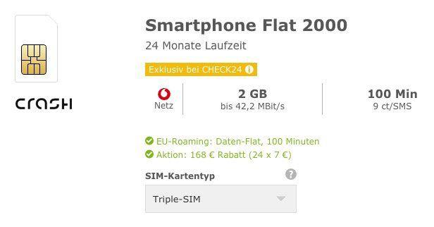 Vodafone Tarif + 100 Freiminuten + 2GB effektiv 2,99€ mtl.