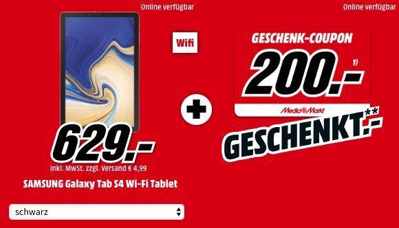 🔥 Samsung Galaxy Tab S4   10,5 Zoll WiFi Tablet mit 64GB ab 629€ + 200€ Gutschein (Vergleich: 610€ + 200€)