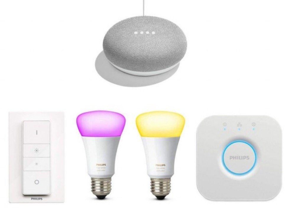 Philips Hue White und Color Ambiance Starter Kit + Dimmer + 2 x E27 Lampen + Google mini für 99€ (statt 140€)