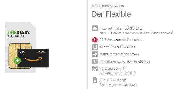 o2 Allnet Flat mit 3GB LTE für 7,99€ mtl. + gratis 10€ Amazon Gutschein + monatlich kündbar