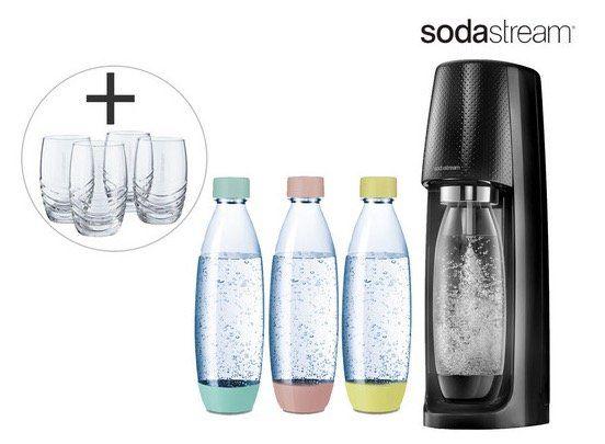 SodaStream Spirit Wassersprudler + 3 Flaschen + 4 Gläser + CO2 Zylinder für nur 65,90€