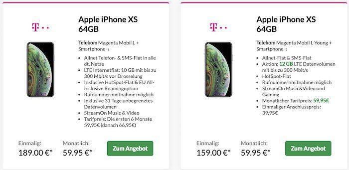 iPhone XS für 189€ oder XS Max für 279€ + Telekom Magenta Mobil L+ mit 10GB LTE (20GB mit MagentaEINS) für 65,20€ mtl.   Young nur 59,95€ mtl.
