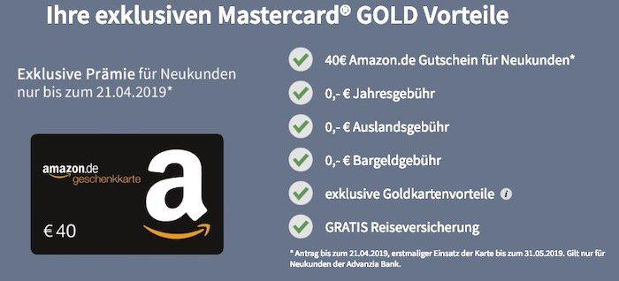 HOT! payVIP Mastercard Gold (100% gebührenfrei) + 40€ Amazon.de Gutschein geschenkt