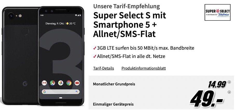 Google Pixel 3 für 49€ + Vodafoen Flat mit 2GB LTE für 16,99€mtl. oder o2 Allnet Flat mit 3GB LTE für 14,99€ mtl.