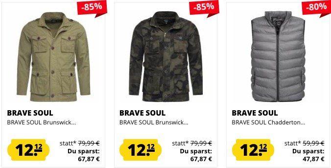 Brave Soul Jacken und Westen für je 12,12€ bei SportSpar