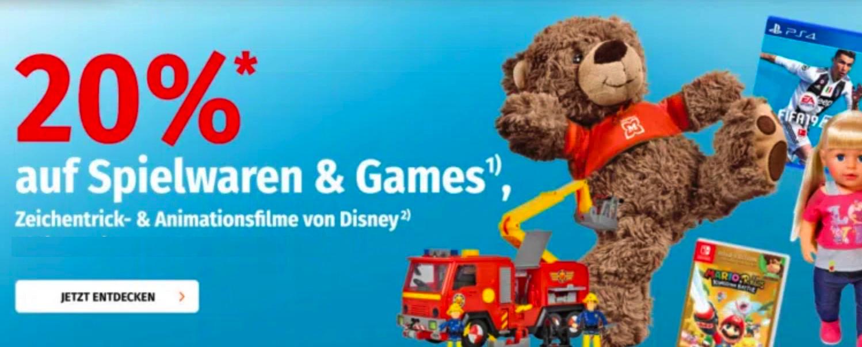 20% Rabatt auf Games und Spielwaren im Müller Online Shop